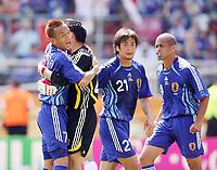 Photo: Chris Ratcliffe.<br /> Japan v Croatia. Group F, FIFA World Cup 2006. 18/06/2006.<br /> Hidetoshi Nakata of Japan celebrates that the keeper Yoshikatsu Kawaguchi saves a penalty from Darijo Srna of Croatia.