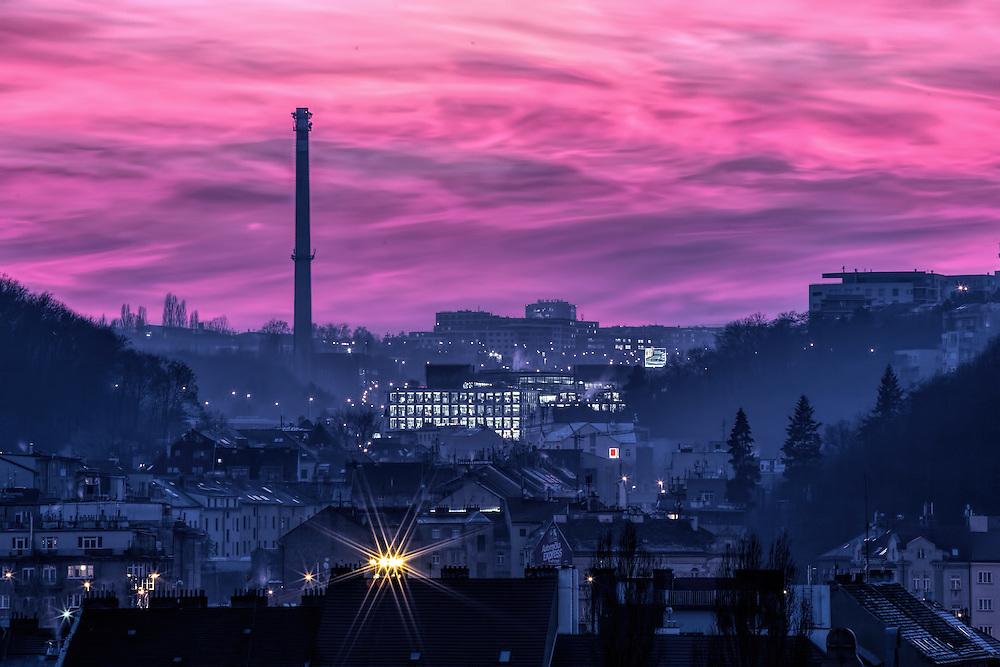 Magic purple sunset over Radlice, Prague district