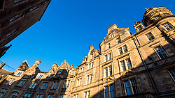 Old tenement buildings on Cockburn Street in Edinburgh Old Town, Scotland, United Kingdom