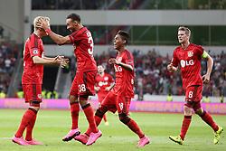 26.08.2015, BayArena, Leverkusen, GER, UEFA CL, Bayer 04 Leverkusen vs Lazio Rom, Playoff, Rückspiel, im Bild Julian Brandt (Bayer 04 Leverkusen #19), Torschuetze Karim Bellarabi (Bayer 04 Leverkusen #38), Nascimento Borges Wendell (Bayer 04 Leverkusen #18) und Lars Bender (Bayer 04 Leverkusen #8) beim Torjubel nach dem Treffer zum 3:0 // during UEFA Champions League Playoff 2nd Leg match between Bayer 04 Leverkusen and SS Lazio at the BayArena in Leverkusen, Germany on 2015/08/26. EXPA Pictures © 2015, PhotoCredit: EXPA/ Eibner-Pressefoto/ Schueler<br /> <br /> *****ATTENTION - OUT of GER*****