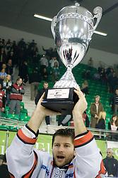Jesenice's captain Tomo Hafner celebrates with a Trophy  at 6th Round of ice-hockey Slovenian National Championships match between HDD Tilia Olimpija and HK Acroni Jesenice, on April 2, 2010, Hala Tivoli, Ljubljana, Slovenia.  Acroni Jesenice won 3:2 after overtime and became Slovenian National Champion 2010. (Photo by Vid Ponikvar / Sportida)