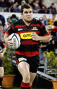 Canterbury captain and hooker Corey Flynn leads his team on to the field before the Air New Zealand Cup week 4 Ranfurly Shield match between Canterbury and Southland on Friday August 18, 2006 at Jade Stadium in Christchurch, New Zealand. Canterbury won the game 24-7. Photo: Jim Helsel/Photosport
