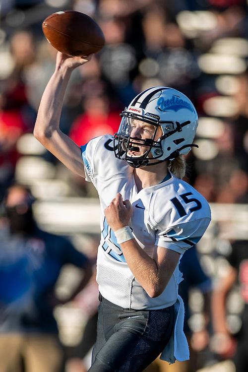 Saint Joseph's Matt Eck passes the ball during the St. Joseph-John Glenn high school football game on Friday, September 4, 2020, at Falcon Field in Walkerton, Indiana.