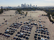 Covid-19 vaccine site at Dodger Stadium's parking lot.<br /> 2/4/2021 Dodger Stadium, Los Angeles, CA <br /> (Photo by Ted Soqui)