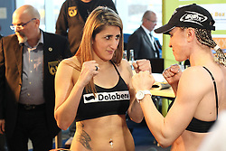 11.01.2013, Mercedes-Benz, Neu-Ulm, GER, Boxen WIBA, Rola el Halabi vs Lucia Morelli, Wiegen, im Bild Links Rola EL-HALABI Rechts Lucia MORELLI // during WIBA Boxing Fight between Rola el Halabi and Lucia Morelli at Mercedes-Benz, Neu-Ulm, Germany on 2012/01/11. EXPA Pictures © 2013, PhotoCredit: EXPA/ Eibner/ Harry Langer..***** ATTENTION - OUT OF GER *****