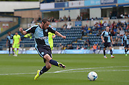Michael Harriman of Wycombe Wanderers takes a shot for goal. Skybet football league two match, Wycombe Wanderers v Hartlepool Utd at Adams Park in High Wycombe, Bucks on Saturday 5th Sept 2015.<br /> pic by John Patrick Fletcher, Andrew Orchard sports photography.