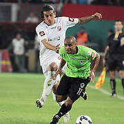 Konyaspor's Kaue Da SILVA (R) and Karsiyakaspor's Ercag EVIRGEN (L) during their Play Off Second leg match at AliSamiYen Stadium in Istanbul Turkey on Thursday, 20 May 2010. Photo by TURKPIX