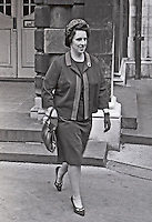 Councillor Eileen Paisley, wife of Rev Ian Paisley, leaves Belfast City Hall in protest at  unsatisfactory seating arrangements at civic lunch for Princess Margaret during Royal Visit to N Ireland. 196705240003<br />