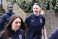 AFC Wimbledon goalkeeper Aaron Ramsdale (35) arriving during the EFL Sky Bet League 1 match between Southend United and AFC Wimbledon at Roots Hall, Southend, England on 16 March 2019.