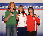 Marathon, GREECE,  W1X  Left, Silver BEL W1X, Gold, CZE W1X and Bronze SUI W1X.  right Medal presentation  for the 2008  FISA European Rowing Championships, at the Club Med. 20/09/2008  [Mandatory Credit Peter Spurrier/ Intersport Images] , Rowing Course; Lake Schinias Olympic Rowing Course. GREECE