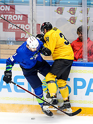 Miha Verlic of Slovenia vs Arnoldas Bosas of Lithuania during ice hockey match between Slovenia and Lithuania at IIHF World Championship DIV. I Group A Kazakhstan 2019, on May 5, 2019 in Barys Arena, Nur-Sultan, Kazakhstan. Photo by Matic Klansek Velej / Sportida