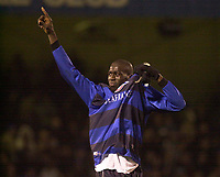 Photo. Glyn Thomas.<br /> Gillingham v Charlton. FA Cup Third Round.<br /> Priestfield Stadium. 03/01/2004.<br /> Mamady Sidibe, scorer of Gillingham's second goal, celebrates his side's 3-2 over the Premiership side.
