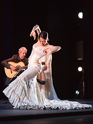 "© Licensed to London News Pictures. 28/02/2016. London, UK. Miguel Angel Cortes and Ana Morales performing. Esperanza Fernandez ""De lo Jondo y Verdadero"" performance at Sadler's Wells Theatre during the Flamenco Festival London 2016. With Singer Esperanza Fernandez, Dancer Ana Morales, Singer Marina Heredia and Guitarist Miguel Angel Cortes. Photo credit: Bettina Strenske/LNP"