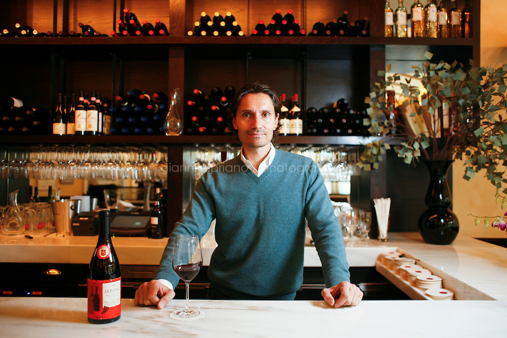 """3, November, 2008. New York, NY. Wine curator and co-owner Vincent Seufert, 44, is here in his restaurant """"10 Downing Food & Wine"""", in the West Village.<br /> <br /> ©2008 Gianni Cipriano for The New York Times<br /> cell. +1 646 465 2168 (USA)<br /> cell. +1 328 567 7923 (Italy)<br /> gianni@giannicipriano.com<br /> www.giannicipriano.com"""