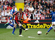 Billy Sharp of Sheffield Utd has a shot on goal during the English League One match at  Bramall Lane Stadium, Sheffield. Picture date: April 30th 2017. Pic credit should read: Simon Bellis/Sportimage