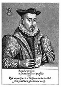 Barnabe Brisson (1531-91) French philologist and jurist. President of Parliament (Parlement) of Paris 1588. Executed by extreme members of the League while Charles of Lorraine, Duke of Mayenne, absent. Engraving.