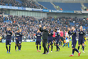 Derby County Manager Frank Lampard and players applaud the fans after The FA Cup 5th round match between Brighton and Hove Albion and Derby County at the American Express Community Stadium, Brighton and Hove, England on 16 February 2019.