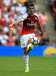 """Arsenal's Granit Xhaka during the Community Shield at Wembley, London. PRESS ASSOCIATION Photo. Picture date: Sunday August 6, 2017. See PA story SOCCER Community Shield. Photo credit should read: Nigel French/PA Wire. RESTRICTIONS: EDITORIAL USE ONLY No use with unauthorised audio, video, data, fixture lists, club/league logos or """"live"""" services. Online in-match use limited to 75 images, no video emulation. No use in betting, games or single club/league/player publications."""