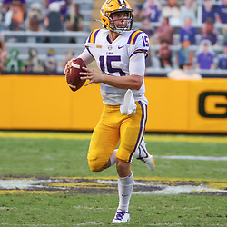 Sep 26, 2020; Baton Rouge, Louisiana, USA; LSU Tigers quarterback Myles Brennan (15) against the Mississippi State Bulldogs during the second half at Tiger Stadium. Mandatory Credit: Derick E. Hingle-USA TODAY Sports