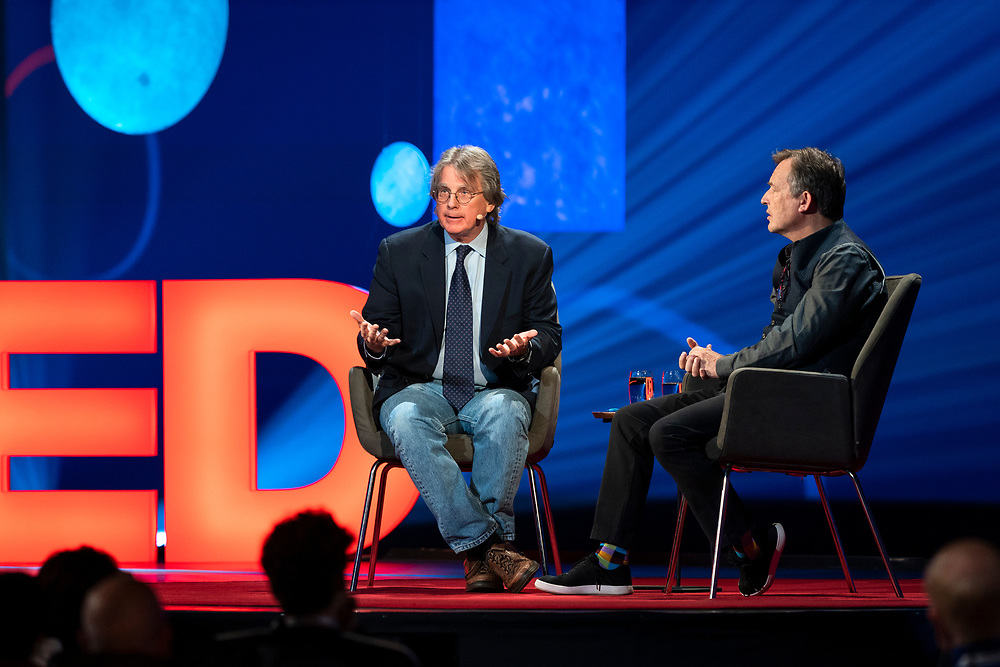 Host Chris Anderson and Roger McNamee speak at TED2019: Bigger Than Us. April 15 - 19, 2019, Vancouver, BC, Canada. Photo: Bret Hartman / TED