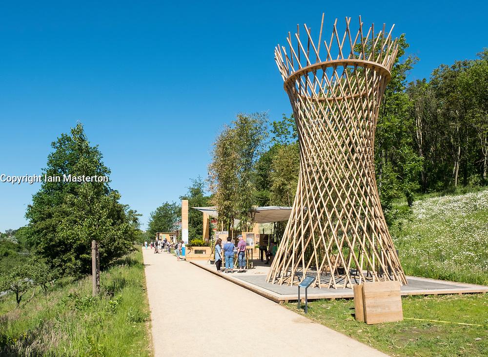 Bamboo structure on Terrace at IGA 2017 International Garden Festival (International Garten Ausstellung) in Berlin, Germany