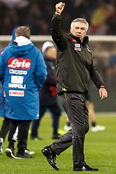November 11, 2018 - Genoa, Italy - Napoli head coach Carlo Ancelotti celebrates victory during the Lega Seria A match between Genoa CFC and SSC Napoli on November 10, 2018 at Stadio Luigi Ferraris in Genoa, Italy. (Credit Image: © Mike Kireev/NurPhoto via ZUMA Press)