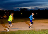 Augusta, New Jersey - Runners at night during the 3 Days at the Fair races at Sussex County Fairgrounds on May 12, 2012.