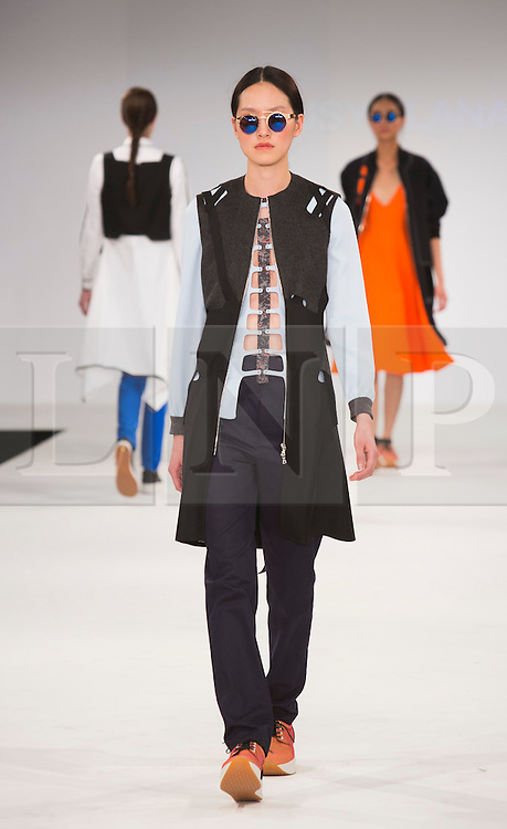 © Licensed to London News Pictures. 30/05/2015. London, UK. A model walks the runway during the UCA Rochester fashion show at Graduate Fashion Week 2015 wearing the collection of graduate student Daisy Flanagan. Graduate Fashion Week takes place from 30 May to 2 June 2015 at the Old Truman Brewery, Brick Lane. Photo credit : Bettina Strenske/LNP