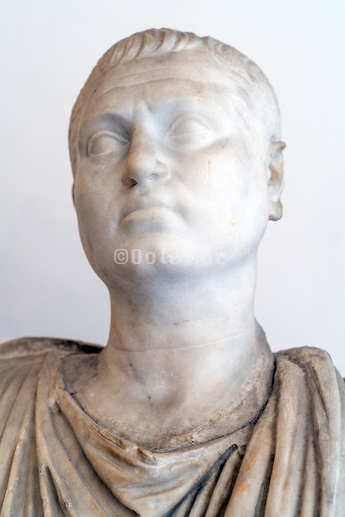 ancient marble Roman head at the National Archaeological Museum Naples
