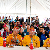 081413        Brian Leddy<br /> Navajo Code Talkers listen to speakers during the annual event in Window Rock  Wednesday.