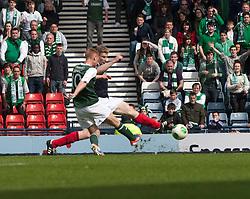 Hibernian's Eoin Doyle scoring their third goal..Hibernian 4 v 3 Falkirk, William Hill Scottish Cup Semi Final, Hampden Park..©Michael Schofield..