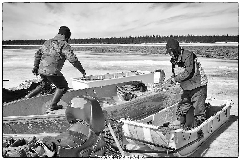 Deerpass Bay Fish Camp.Deline, NT.Great Bear Lake.May 2010