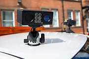 Camera on top of a Workplace Parking Levy (WPL) surveillance vehicle which contributes to Nottingham's attempt to reduce traffic congestion and improve the air quality in Nottingham, Nottinghamshire, United Kingdom. The WPL incentivises employees to travel to work in ore sustainable ways.  (photo by Andrew Aitchison / In pictures via Getty Images)