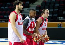 Kaloyan Ivanov, Asen Velikov and Earl Rowland  at practice session of Bularian National basketball team 1 day before Eurobasket Lithuania 2011, on August 29, 2011, in Arena Svyturio, Klaipeda, Lithuania. (Photo by Vid Ponikvar / Sportida)