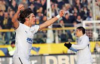 """L'esultanza di Guglielmo Stendardo dopo il gol dell'1-1<br /> Guglielmo Stendardo (Lazio) celebrates after scoring goal<br /> Italian """"Serie A"""" 2006-07 <br /> 23 Dic 2006 (Match Day 18)<br /> Parma-Lazio (1-3)<br /> """"Ennio Tardini"""" Stadium-Parma-Italy<br /> Photographer Luca Pagliaricci INSIDE"""