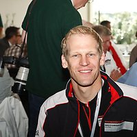 Porsche  #91 driver Joerg Bergmeister in interview with author on Friday 21 June 2013 at Le Mans 24H