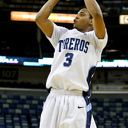 November 27, 2011; New Orleans, LA; San Diego Toreros guard Darian Norris (3) shoots against the Tulane Green Wave during the second half of the Hoops for Hope Classic at the New Orleans Arena. Tulane defeated San Diego 65-46. Mandatory Credit: Derick E. Hingle-US PRESSWIRE