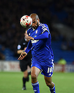 David McGoldrick of Ipswich Town in action. Skybet football league championship match, Cardiff city v Ipswich Town at the Cardiff city stadium in Cardiff, South Wales on Tuesday 21st October 2014<br /> pic by Andrew Orchard, Andrew Orchard sports photography.