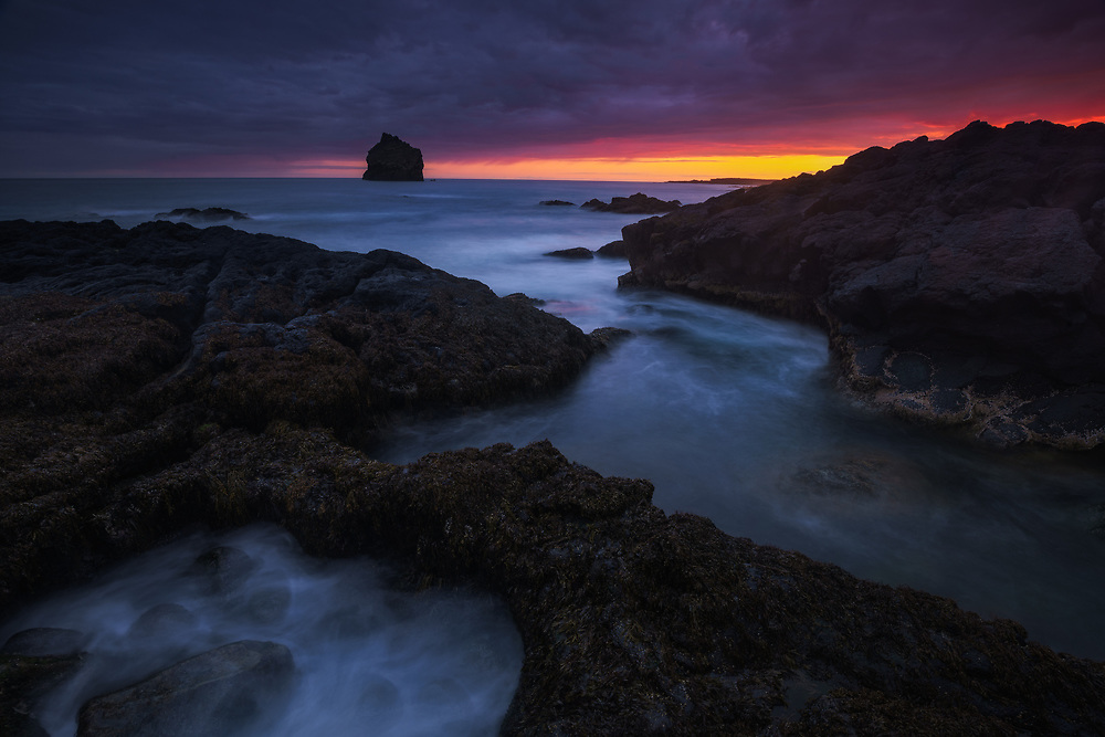 Sunset along the rocky coastline on the Reykjanes Peninsula, Iceland