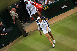 13 July 2017 -  Wimbledon Tennis (Day 10) - Johanna Konta (GBR) and Venus Williams (USA)  make their way onto centre court for the semi-final - Photo: Marc Atkins / Offside.
