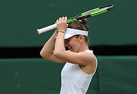Tennis - 2019 Wimbledon Championships - Week Two, Saturday (Day Twelve)<br /> <br /> Women's Singles, Final: Serena Williams (USA) vs. Simona Halep (ROU)<br /> <br /> Simona Halep  after winning the match, on Centre Court.<br /> <br /> COLORSPORT/ANDREW COWIE
