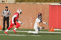 05 December 2015:  Joey Borsellino(1) goes to the turf to make a catch in front of DraShane Glass(14). NCAA FCS Round 2 Football Playoff game between Western Illinois Leathernecks and Illinois State Redbirds at Hancock Stadium in Normal IL (Photo by Alan Look)