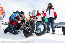 Tech inspection required before racing in the Baikal Mile Ice Speed Festival. Maksimiha, Siberia, Russia. Wednesday, February 26, 2020. Photography ©2020 Michael Lichter.Baikal Mile Ice Speed Festival. Maksimiha, Siberia, Russia. Wednesday, February 26, 2020. Photography ©2020 Michael Lichter.