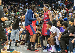 July 6, 2018 - Oakland, CA, U.S. - OAKLAND, CA - JULY 06: Amar'e Stoudamire (1) co-captain of Tri-State congratulates David Hawkins (34) of Tri-State on his winning basket during game 3 in week three of the BIG3 3-on-3 basketball league on Friday, July 6, 2018 at the Oracle Arena in Oakland, CA (Photo by Douglas Stringer/Icon Sportswire) (Credit Image: © Douglas Stringer/Icon SMI via ZUMA Press)