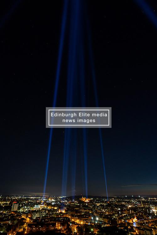 My Light Shines On, Edinburgh International Festival, Edinburgh 08 August 2020; Lights are shone into the sky across the city to celebrate Edinburgh International Festival 2020<br /> <br /> (c) Chris McCluskie | Edinburgh Elite media