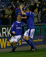 Photo: Steve Bond.<br />Leicester City v Leeds United. Coca Cola Championship. 13/03/2007. Iain Hume celebrates his equaliser