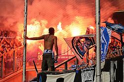 08.08.2015, Schauinsland Reisen Arena, Duisburg, GER, DFB Pokal, MSV Duisburg vs FC Schalke 04, 1. Runde, im Bild Die Fans des FC Schalke 04 brennen in der Fankurve verbotene Bengalos ab. // during German DFB Pokal first round match between MSV Duisburg and FC Schalke 04 at the Schauinsland Reisen Arena in Duisburg, Germany on 2015/08/08. EXPA Pictures © 2015, PhotoCredit: EXPA/ Eibner-Pressefoto/ Thienel<br /> <br /> *****ATTENTION - OUT of GER*****