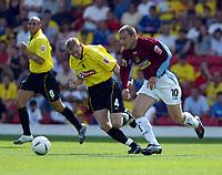 Photo. Chris Ratcliffe. Digitalsport<br /> Watford v Burnley. The League Championship. 14/08/2004<br /> Burnley goalscorer ian Moore goes away from Watford's Brynjar Gunnarsson