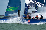 SailGP Team USA helmed by Rome Kirby, Race three. Race Day. Event 4 Season 1 SailGP event in Cowes, Isle of Wight, England, United Kingdom. 11 August 2019: Photo Chris Cameron for SailGP. Handout image supplied by SailGP