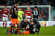Sheffield Wednesday midfielder Barry Bannan (41) gets treatment during the The FA Cup match between Middlesbrough and Sheffield Wednesday at the Riverside Stadium, Middlesbrough, England on 8 January 2017. Photo by Simon Davies.